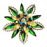 Vintage 50's Emerald Rhinestone Navette Flower Brooch Gold Plated Costume Jewelry