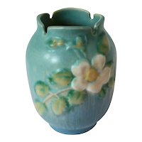Vintage Rosewood Art Pottery White Rose Notched Vase