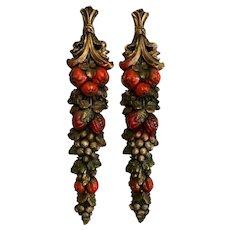 Vintage Dellarobbia Style Pomegranates & Grapes Chalkware Swag Plaques