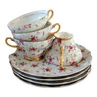 Vintage Hollywood Regency Napco Rose Chintz Teacup Tea/Snack Set - Set of 4