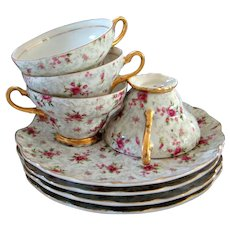 Vintage Hollywood Regency Napco Rose Chintz Teacup Tea/Snack Set - Set of 4