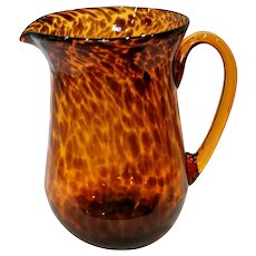 Vintage Smith Hand Blown Amber Tortoise Art Glass Pitcher