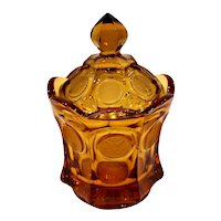 Vintage Fostoria Amber Glass Liberty Coin Candy Dish W/Lid