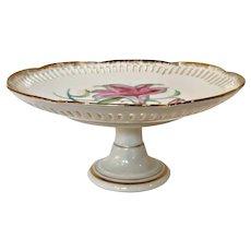 Vintage Bond Ware Floral Porcelain Pedestal Dessert Plate - Japan