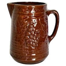 Antique Yellow Ware Stoneware Pitcher North Star Red Wing Grape & Lattice