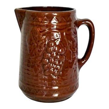 Antique Yellow Ware Stoneware Pitcher North Star Red Wing Grape & Lattice