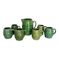 Vintage 1920's McCoy Green Pottery Barrel Tankard Pitcher & 6 Mugs