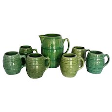 Vintage 1920's McCoy Green Pottery Barrel Tankard Pitcher & 6 Mugs