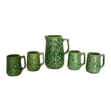 Vintage 1920's McCoy Stoneware Pottery Basket Weave Pitcher Tankard & Mugs Set