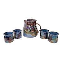 Vintage Blue Violet Art Pottery Stoneware Pitcher & Cups Set - 5 Piece Set