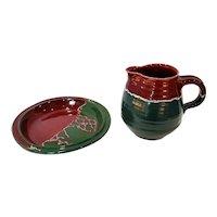 Vintage David Stewart Art Pottery Stoneware Pitcher & Bowl Set - 2 Piece Set
