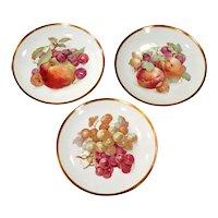 Vintage Jaegar Germany Porcelain Orchard Decorative Fruit Plates - Set of 3