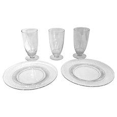 "Vintage 1940's Duncan & Miller Crystal Ice Tea Glasses & Plates ""Teardrop"""