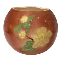 Vintage California Art Pottery Round Floral Hand Painted Vase