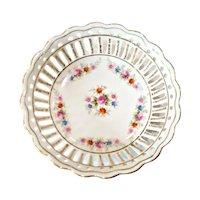 Vintage Reticulated Porcelain Trinket Vanity Pin Dish