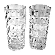 Vintage French Cristal d'Arques Durand Crystal Vases - a Pair