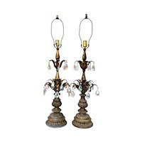 Mid-Century Hollywood Regency Metal & Crystal Prism Table Lamps
