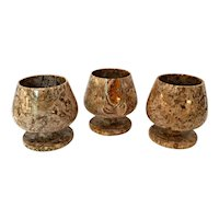 Carved Italian Crinoid Fossil Jasper Stone Brandy Snifters - Set of 3