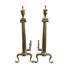 Antique Neoclassical Columns & Urns Brass Fireplace Andirons - a Pair