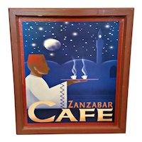 Vintage Pop Art Zanzibar Cafe Turkish Coffee Mounted Framed Poster