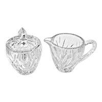 """Gorham Cut Glass Crystal """"Star Blossom"""" Sugar & Creamer Set"""