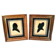 Vintage Art Deco 1920's George & Martha Washington Reverse Painted Silhouettes