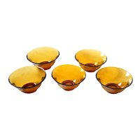 Vintage 60's 70's  AMBER GLASS 5 Pc Salad Bowl Set