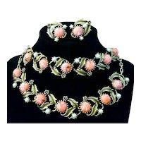 Vintage Mid Century Coral-Color Lucite Cabochon Jewelry Parure