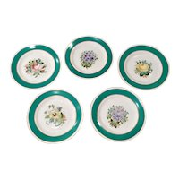 Antique Victorian English Porcelain Dessert Plates Hand Painted Florals