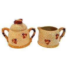 Vintage Mid-Century Honey Bee Honeycomb Sugar & Creamer Set