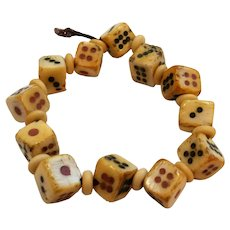 12 Vintage Chinese Hand Carved Bone Dice Beads Charms