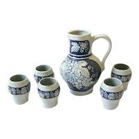 Vintage Gerz German Wine Jug & Cups Blue Stoneware Set