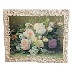Vintage 50's Modernist Cabbage Roses Lithograph Print by Jean-Baptiste Robie