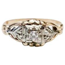 Vintage 1930s Art Deco 14K White & Yellow Gold Diamond Engagement Ring Sz 7