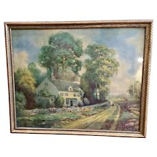 """1930s R. Atkinson Fox Framed Lithograph Print """"The Old Home"""""""