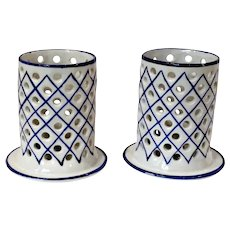 Vintage Hand Painted Blue & White Faience Candle Holders Portugal - a Pair
