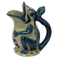 Vintage Hand-painted Asian Frog Stoneware Garden Pitcher