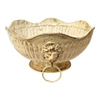 Vintage Solid Brass Double Lion Head Footed Decorative Bowl