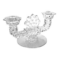 Art Deco Geometric Fan Crystal Double Arm Candlestick Holder