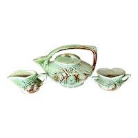 Vintage 1940's McCoy Pine Cone Teapot Sugar Creamer Pottery Set - Set of 3