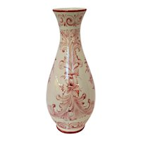 Hand Painted Cream & Red Faience Portuguese Pottery Vase