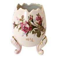 Vintage 50's Napco Porcelain Footed Egg Vase Moriage Roses