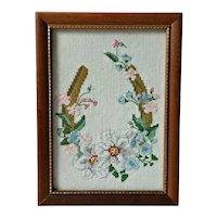 Vintage Mid Century Framed Needlework Southern Magnolias On Horseshoe