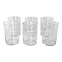 6 Vintage Atomic Cut Crystal Old Fashioned Glasses