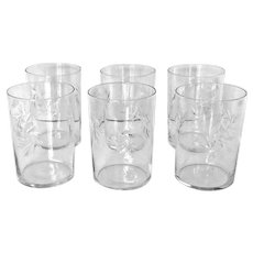 6 Vintage Atomic Cut Crystal Old Fashioned Glasses