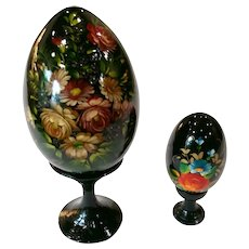Vintage Hand Painted Russian Lacquer Ware Floral Eggs