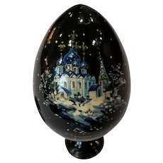 Vintage Hand Painted Russian Lacquer Ware Egg