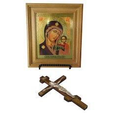 Vintage Russian Orthodox Theotokos Icon & Crucifix