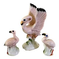 Vintage Bone China Pink Flamingos Doll House Miniatures