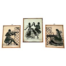 Vintage Musical Trio Reverse Painted Convex Glass Silhouettes